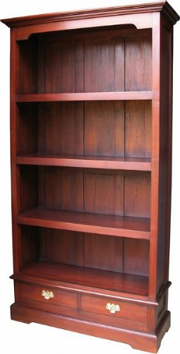 Tall and Wide Bookcase with Two Drawers in Mahogany